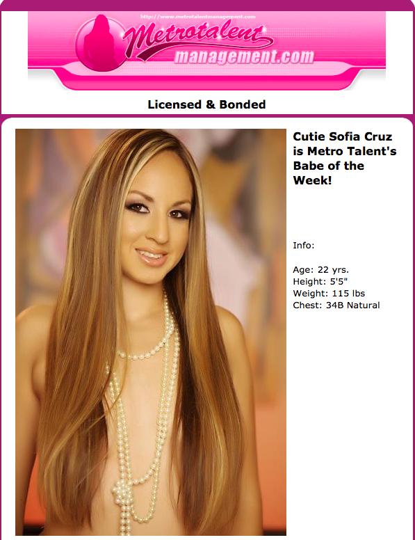 Sofia Cruz Metro Talent's Babe of the Week