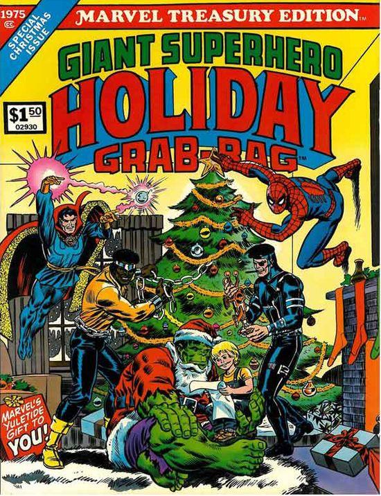 Hollywood Gone Geek, HGG, @HwoodGoneGeek, Hulk, Santa, marvel comics, Holiday, Christmas, Special, Treasury, Spiderman, Luke Cage, Dr Strange, Superhero, Nick Fury, 1975, 70s, retro, oversized, xmas, cover