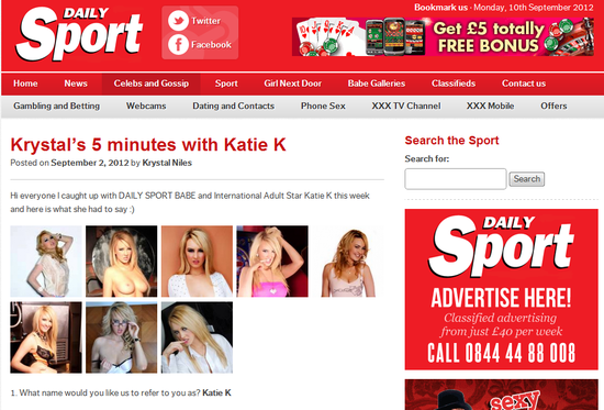 Katie K on Daily Sport