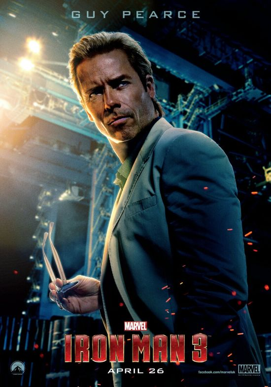 Iron Man 3, Guy Pearce, Aldrich Killian, Marvel, Superhero, HGG, Hollywood Gone Geek, Entertainment, Geek, @HWoodGoneGeek, Reveal, Poster, Tease, Extremis, Villain