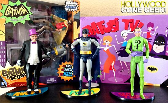 Batman, Classic TV Series, Figures, 1966, action figures, Mattel, Batmobile, Toys R Us, Exclusive, Batusi TV, Batusi, Shag, SDCC, The Joker, The Penguin, Surf Batman, Robin, Batman & Robin