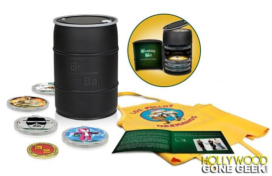 Home Media, Breaking Bad, AMC, Complete Series, DVD, Blu-ray, Collectible, Bryan Cranston, Aaron Paul, Dean Norris, Betsy Brandt, Vince Gilligan, Sony Pictures Entertainment, Los Pollos Hermanos, Entertainment, Action, Thriller, Television Show, Complete, Collection,  Barrel, Packaging, Walter White, Jesse Pinkman
