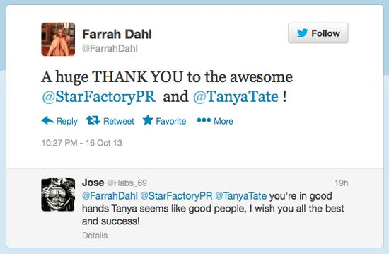 Tanya Tate, Farrah Dahl, Star Factory PR, Publicity, Press Release, Media Contact, SFPR, Twitter, Social Media, Thanks