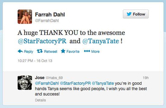 Tanya Tate, Farrah Dahl, Star Factory PR, Publicity, Press Release, Media Contact, SFPR, Twitter, Social Media, Thanks