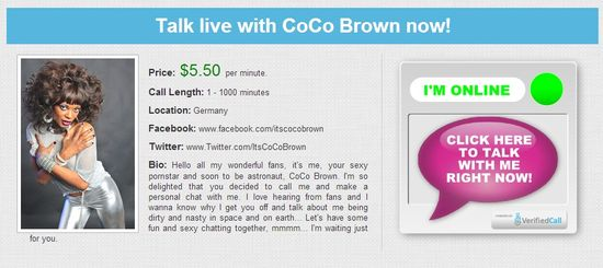 Talk live on the phone with CoCo Brown   VerifiedCall.com