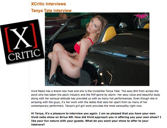 Vivid radio, Interview, Tanya Tate, Xcritic, Exclusive, SiriusXM 102, Tuesdays, The Tanya Tate Show